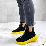 Только 41 р! Женские ботинки ДЕМИ/ осенние черные с желтым натуральная замша, фото 2