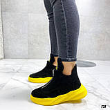 Только 41 р! Женские ботинки ДЕМИ/ осенние черные с желтым натуральная замша, фото 5