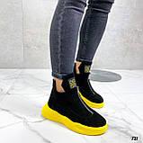 Только 41 р! Женские ботинки ДЕМИ/ осенние черные с желтым натуральная замша, фото 4