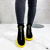 Только 41 р! Женские ботинки ДЕМИ/ осенние черные с желтым натуральная замша, фото 8