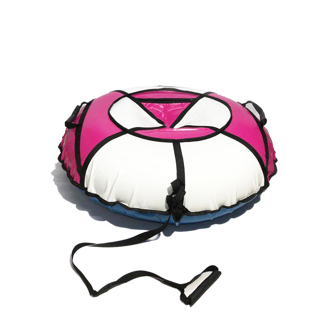 Тюбинг надувные санки ватрушка d 100 см серия Прокат Усиленная Бело - Розового цвета для детей и взрослых