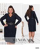 Элегантное платье батал с V-образным вырезом горловины Украина Минова Размеры: 46-48,50-52,54-56,58-60,62-64, фото 2