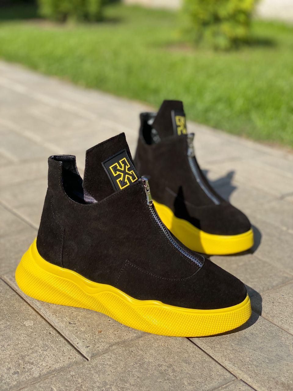 Только 41 р! Женские ботинки ДЕМИ/ осенние черные с желтым натуральная замша