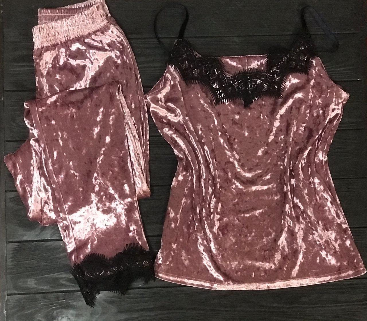 Велюровая пижама с кружевом BR-S майка и штаны розовый 44 р. 1261659534