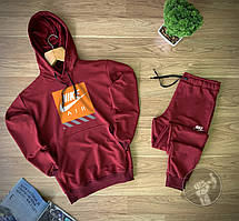 Мужской спортивный костюм Найк бордовый (Спортивный костюм Найк бордовый недорогой 90% хлопок)