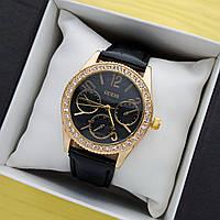 Жіночі кварцові наручні годинники Guess (Гес) на ремінці, золоті з чорним циферблатом - код 1689, фото 1