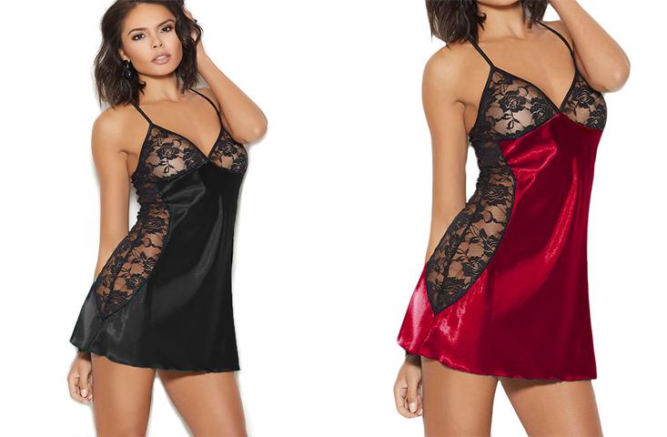 Сексуальное белье. Эротический комплект. Пеньюар. Ночная рубашка (38 размер размер XS) черный