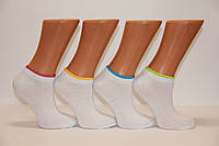 Женские носки короткие с хлопка SL КЛ 38-40  белый с цветной резинкой