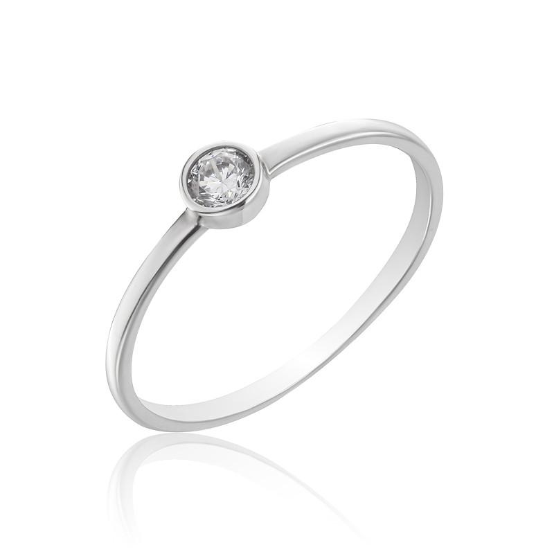 Серебряное кольцо с одним камушком, 910159б