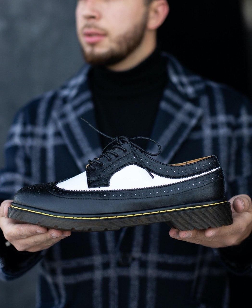 Мужские осенние туфли Dr. Martens low (full black), мужские туфли Доктор Мартенс (Реплика ААА)