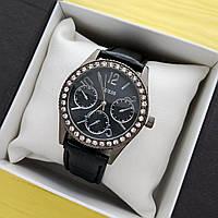 Женские кварцевые наручные часы Guess (Гес) на ремешке, черные с черным циферблатом - код 1691, фото 1