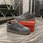 Чоловічі кросівки Nike air force low luxury suede (сірі) 516TP, фото 4