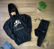 Спортивный костюм Найк черный с капюшоном (Спортивный костюм Nike черный мужской)