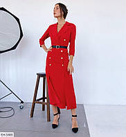 Длинное деловое женское платье по фигуре с поясом арт. 1021