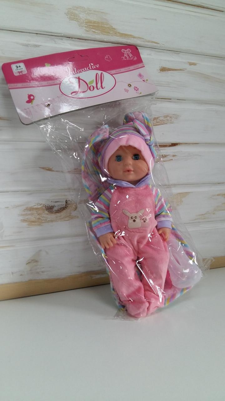 Пупс Doll YL 1808K-B рюкзак кенгуру,бутылочка,в пакете