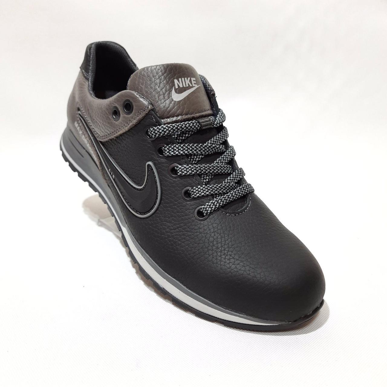 Чоловічі кросівки натуральна шкіра, Чорні з сірим відмінної якості