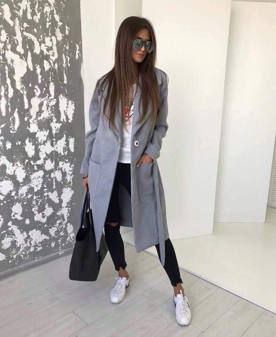 Женское пальто, турецкий кашемир, р-р 42-44; 44-46 (серый)