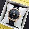 Жіночі кварцові наручні годинники Michael Kors на ремінці, золоті з чорним циферблатом - код 1694