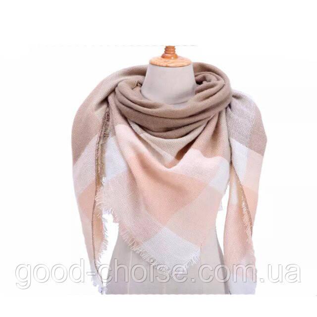 Женский теплый большой шарф платок в клетку 140*140 см / Шарфы и платки