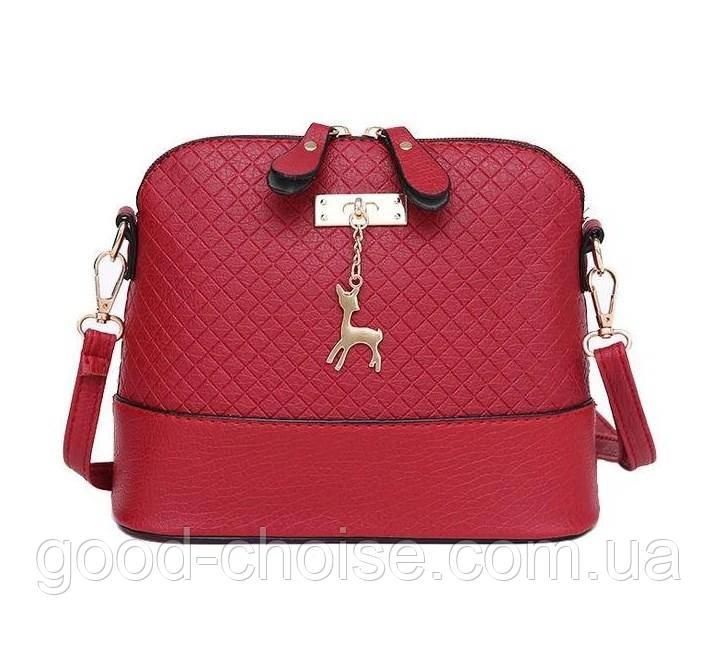 Женская сумка клатч Бэмби + Подарок часы D.W  / Сумка Бемби Красная  (23 x 20 x 10 см)