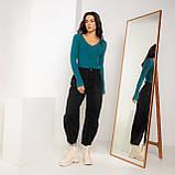 Базовая кофта в мелкий рубчик с V-образным вырезом в 6 цветах в размере S/M  и M/L, фото 6