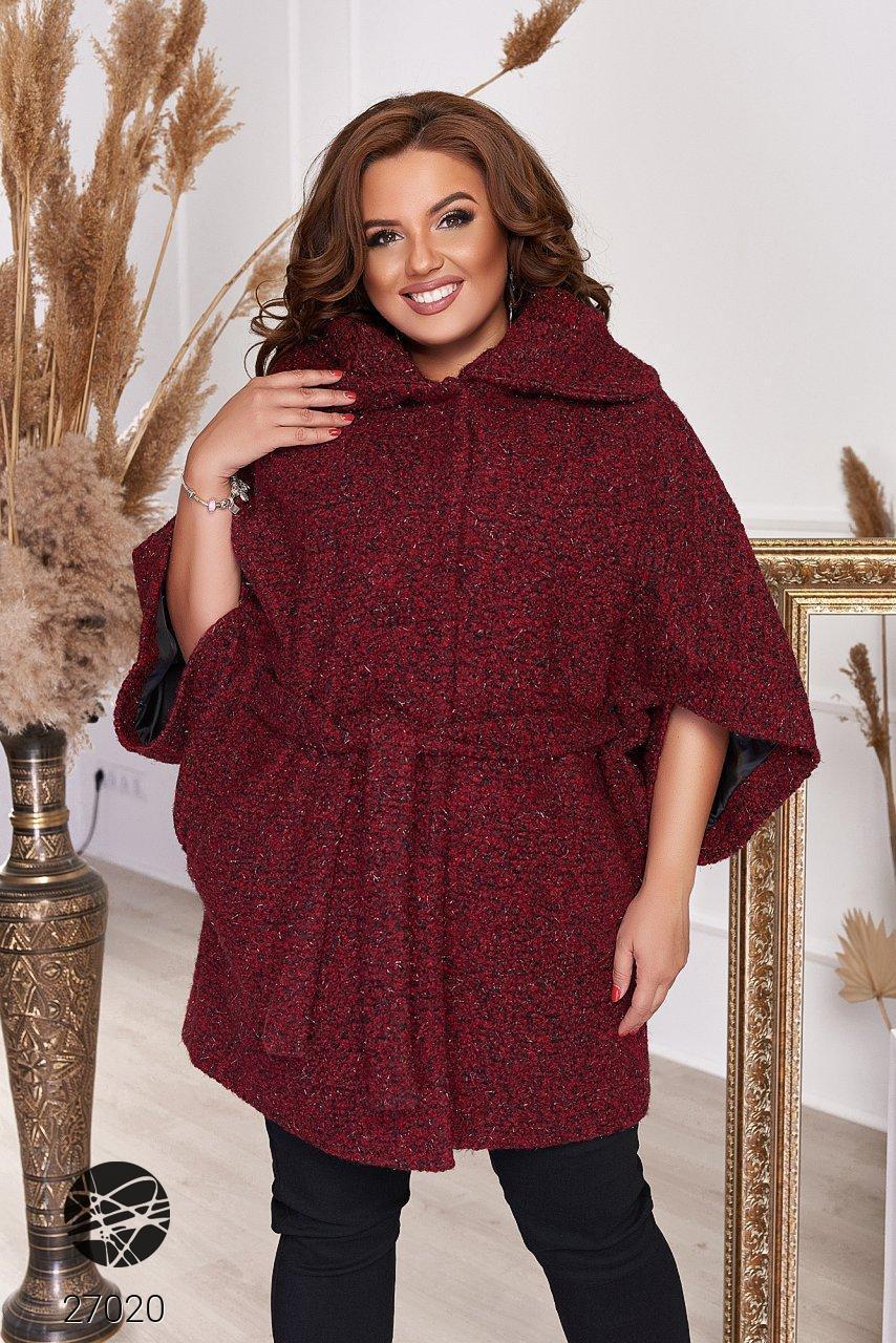 Пальто из твида с рукавами кимоно бордового цвета. Модель 27020. Размеры 48-66