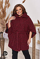 Пальто из твида с рукавами кимоно бордового цвета. Модель 27020. Размеры 48-66, фото 1