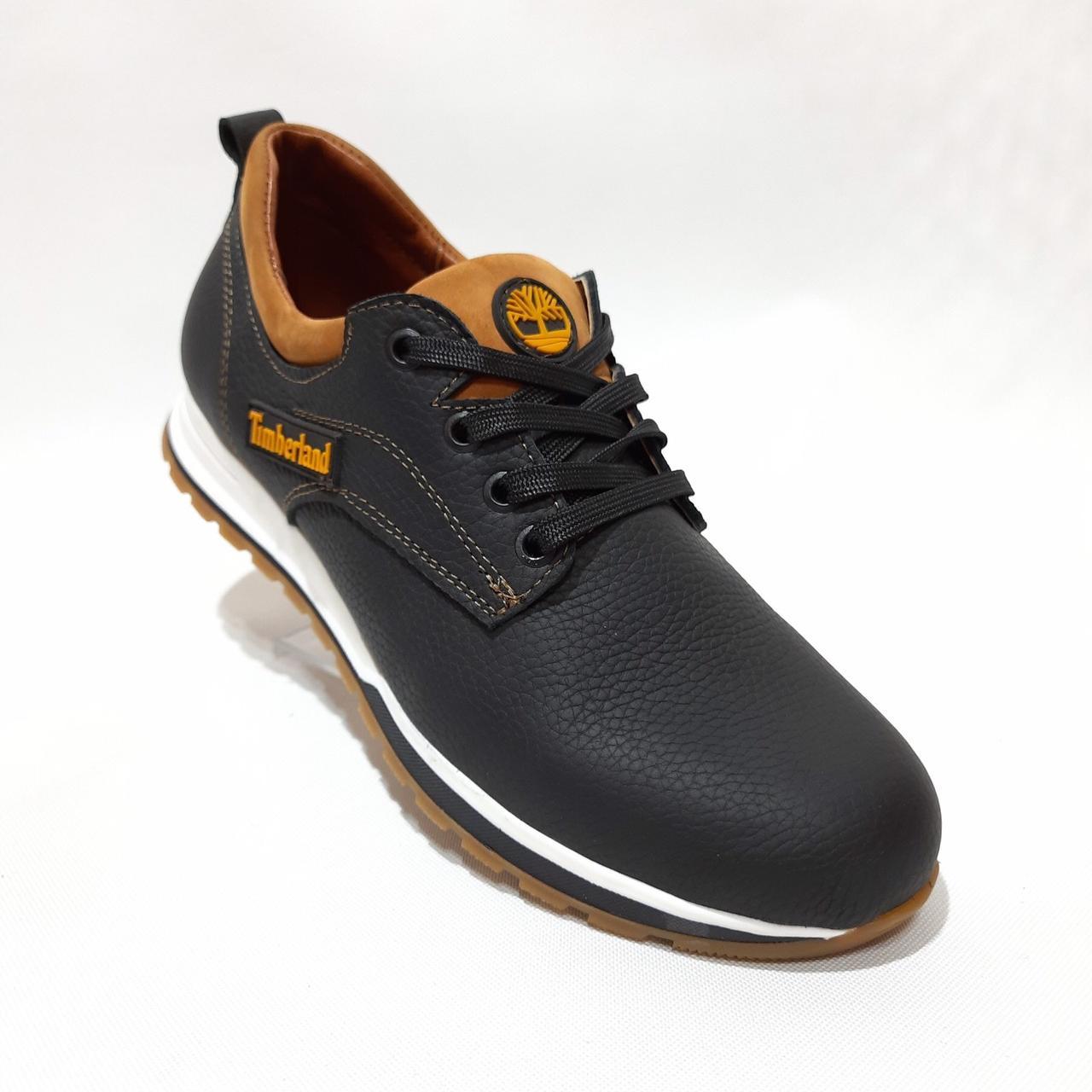 Мужские осенние кроссовки натуральная кожа Черные с рыжим отличного качества