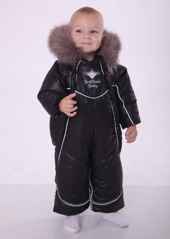 Зимний комбинезон-трансформер Снежинка, черный