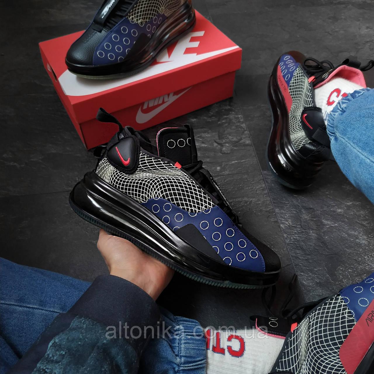 45р-29 см. Кроссовки Nike DMSX Air Max 720 Черные с синим. NK1-41-4145