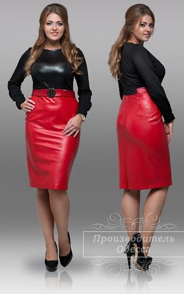 1c1820901f7 Нарядное черно красное платье кожа стрейч рукав трикотаж размеры 46 ...