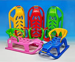 Санки пластиковые со спинкой и шнурком (4 ЦВЕТА)