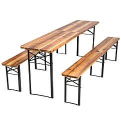 Садовая мебель стол + две скамьи со спинкой 220 см раскладные Германия