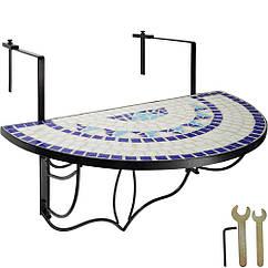 Балконный стол, мозаика, сложенная белый / синий
