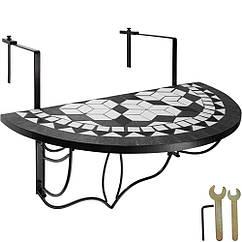 Балконный стол, мозаика, сложенная черный / белый