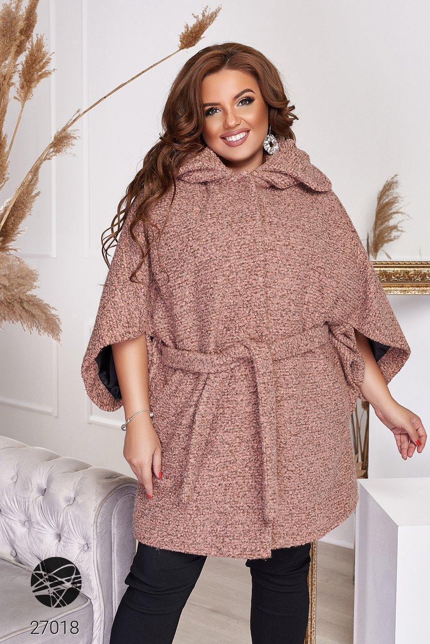 Пальто из твида с рукавами кимоно розового цвета. Модель 27018. Размеры 48-66