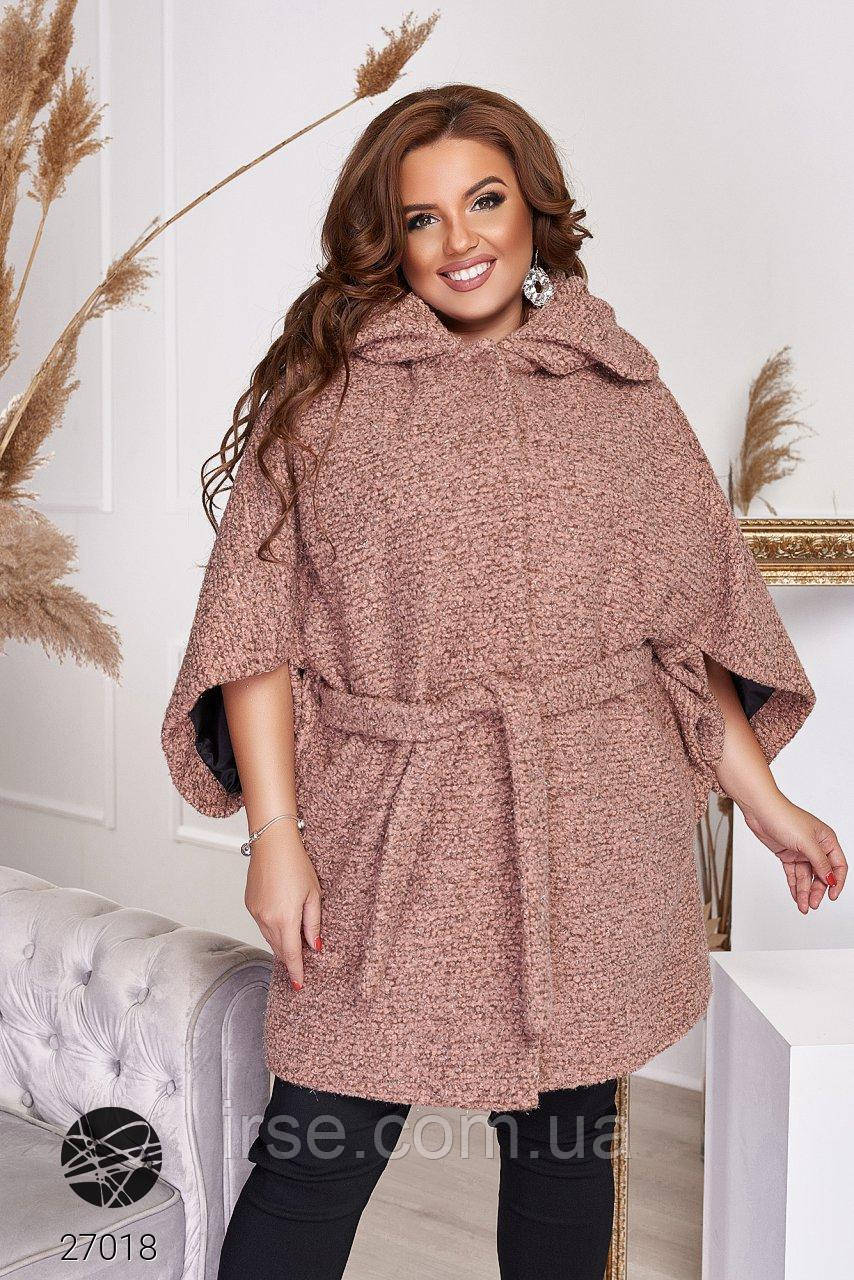 Пальто з твіду з рукавами кімоно рожевого кольору. Модель 27018. Розміри 48-66