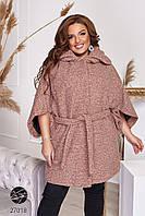 Пальто из твида с рукавами кимоно розового цвета. Модель 27018. Размеры 48-66, фото 1