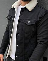 Мужская джинсовка на овчине черная 5553-3
