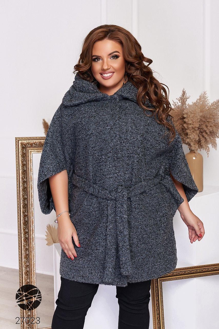 Пальто из твида с рукавами кимоно темно-серого цвета. Модель 27023. Размеры 48-66