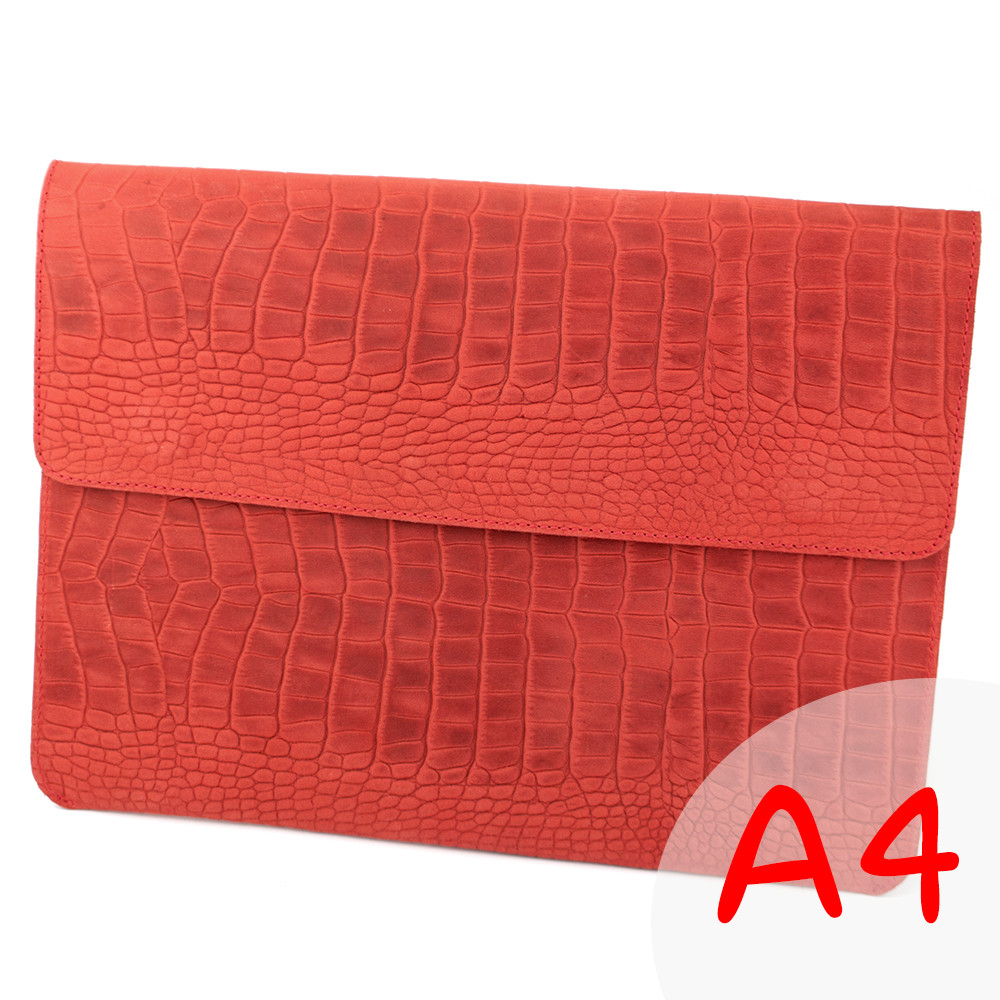 Папка-конверт для документів шкіряна А4 Crez-801 червоний крокодил