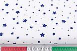 """Ткань хлопковая """"Звездопад"""" синий на белом фоне, №2969а, фото 2"""