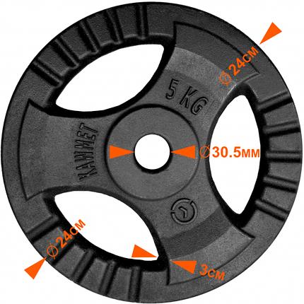 Набор штанга 30кг с блинами KAWMET, гриф прямой 180см (комплект 2), фото 2