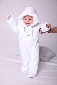 Теплый комбинезон для новорожденных Вьюга белый