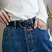 Женский эко-кожаный ремень с пряжкой cердце трендовый черный стильный пояс, фото 2