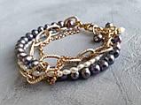 Браслет многорядный Жемчуг и цепочки, фото 8