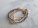 Браслет многорядный Жемчуг и цепочки, фото 5