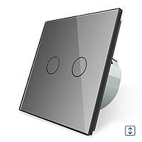 Сенсорный выключатель для ролет штор ворот жалюзи Livolo серый стекло (VL-C702W-15)