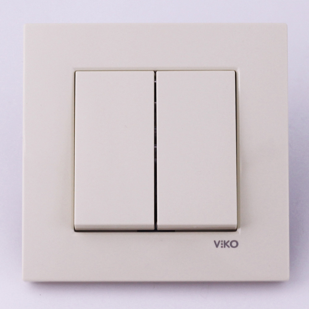 Выключатель двухклавишный VI-KO Karre скрытой установки (кремовый)