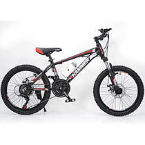 Гірський підлітковий велосипед 20 дюймів S200 HAMMER чорно-червоний